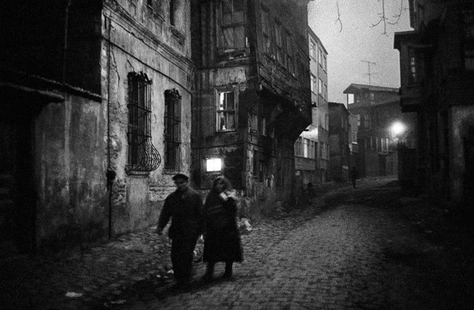 Nightfall in the district of Zeyrek, Istanbul. 1960