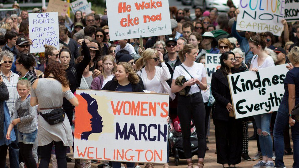 Women's march in Auckland New Zealand on 21 January 2017
