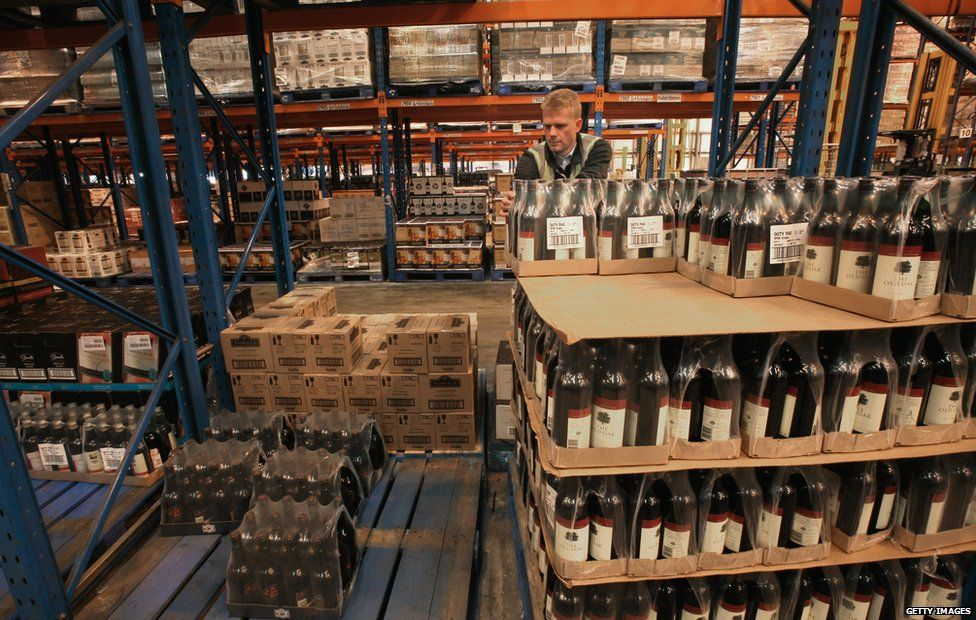 Wine in a warehouse