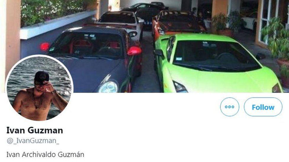 Twitter feed of Sinaloa cartel member, Ivan Guzman