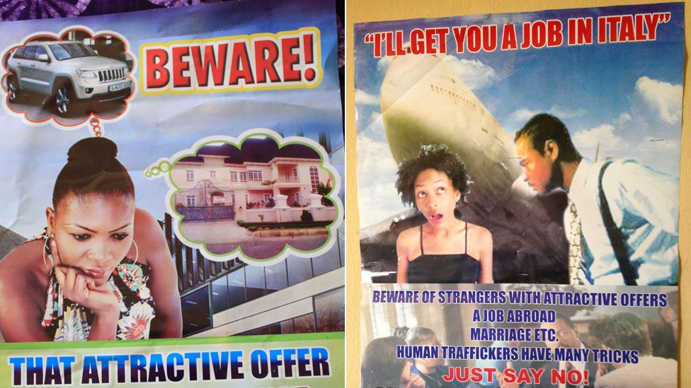Posters warning about trafficking