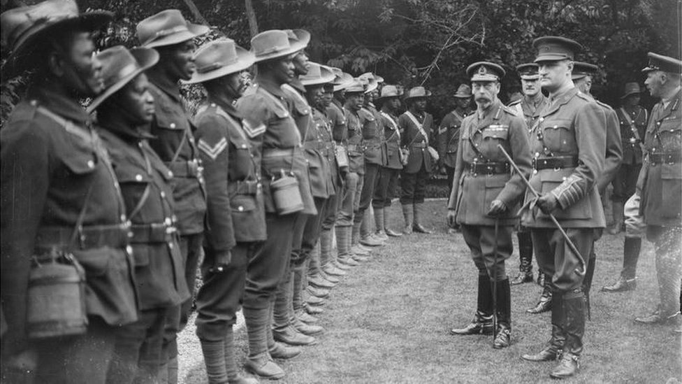 King George inspecting the SANLC
