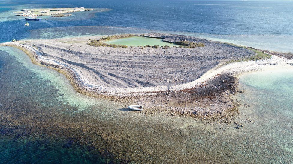 An undated handout photo made available by Western Australia Police shows an aerial view of Burton Island, Western Australia, Australia (issued 05 September 2019).