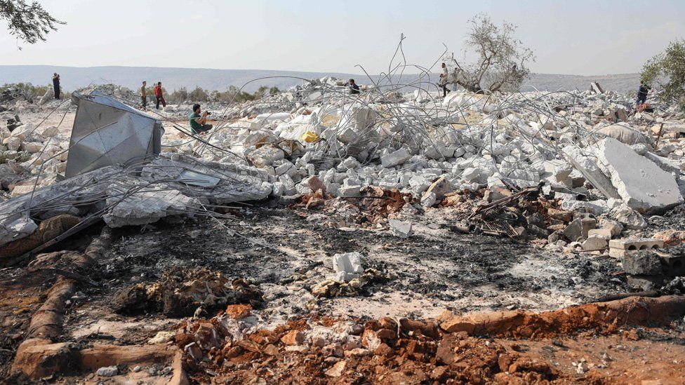 Rubble of building destroyed during US raid near the Syrian village of Barisha (27 October 2019)