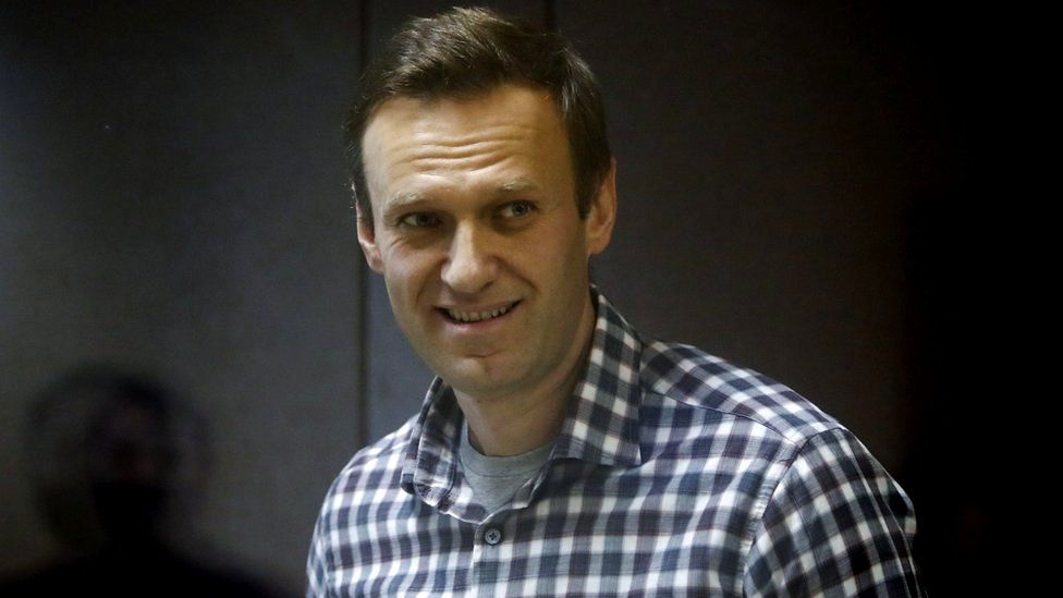 Russian opposition politician Alexei Navalny attends a court hearing in Moscow, Russia February 20, 2021.