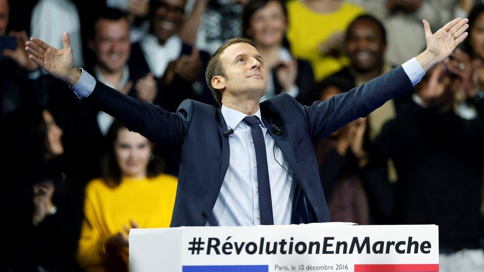 Emmanuel Macron attends a political rally in Paris on 19 December 2016