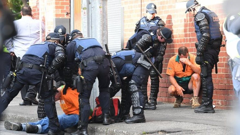 Police deployed capsicum spray at the protest in Melbourne
