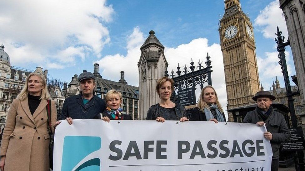 Joely Richardson (left), Juliet Stevenson (centre), Toby Jones (right) among actors calling for action during a demonstration in Westminster