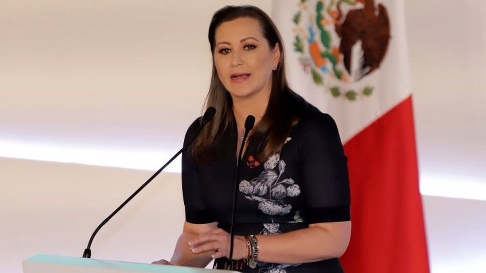Martha Erika Alonso speaks during her swearing-in ceremony in Puebla state, Mexico. Photo: 14 December 2018