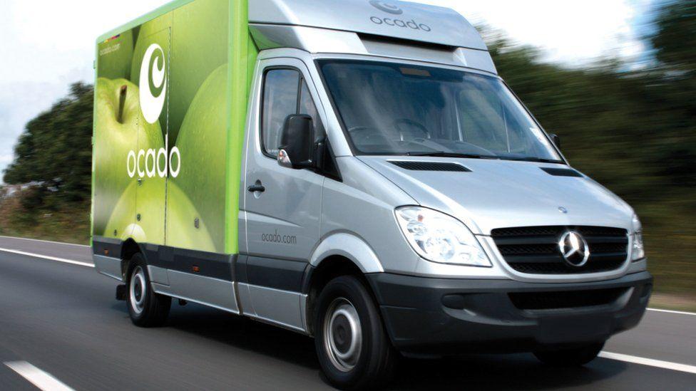 Ocado delivery van on the road