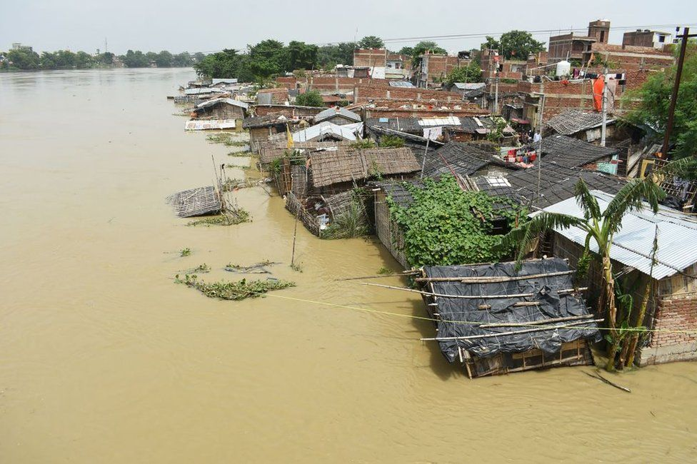 General view of a flooded area following heavy monsoon rains in Muzaffarpur in the Indian state of Bihar on July 17, 2019.