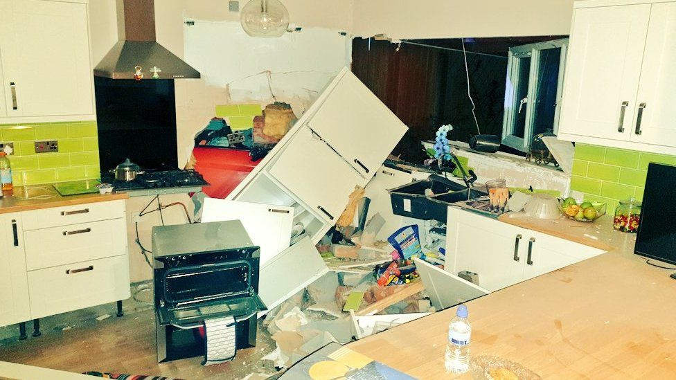 The kitchen in Northfield damaged by the crash