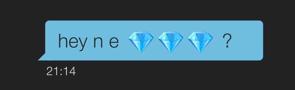 Message on Grindr showing diamond emoji