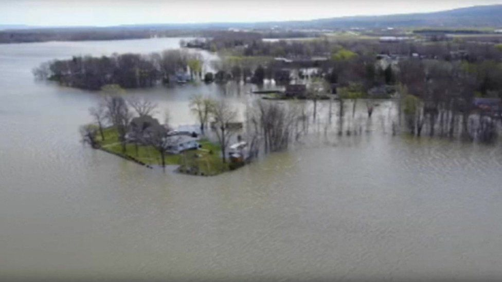 Aerial view of flooding