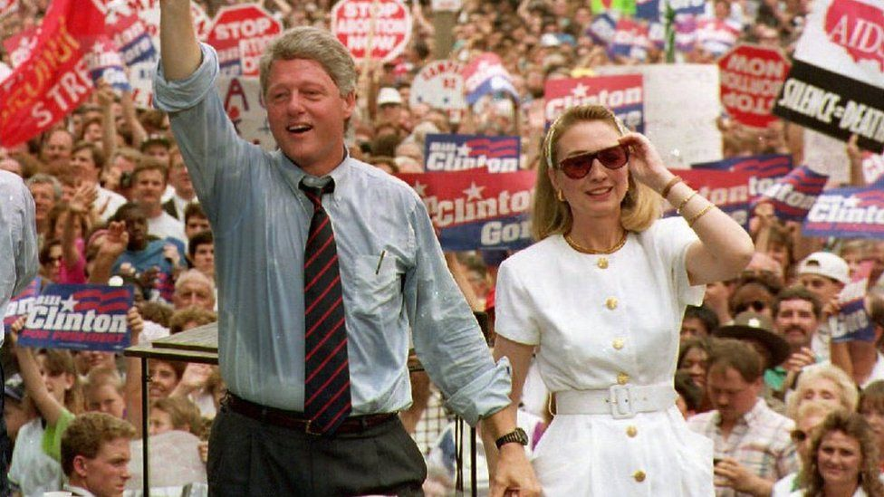 Democratic presidential candidate Bill Clinton with wife Hillary Clinton in 1992
