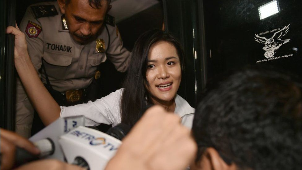 Murder suspect Jessica Kumala Wongso arrives at the Central Jakarta court on 27 October 2016.