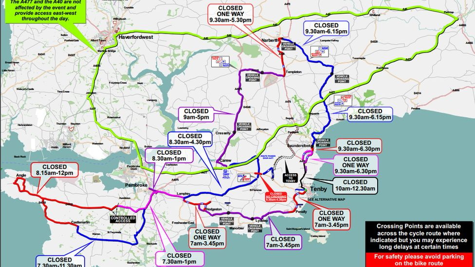 Map of road closures around Pembrokeshire on Sunday, 9 September for Ironman Wales event
