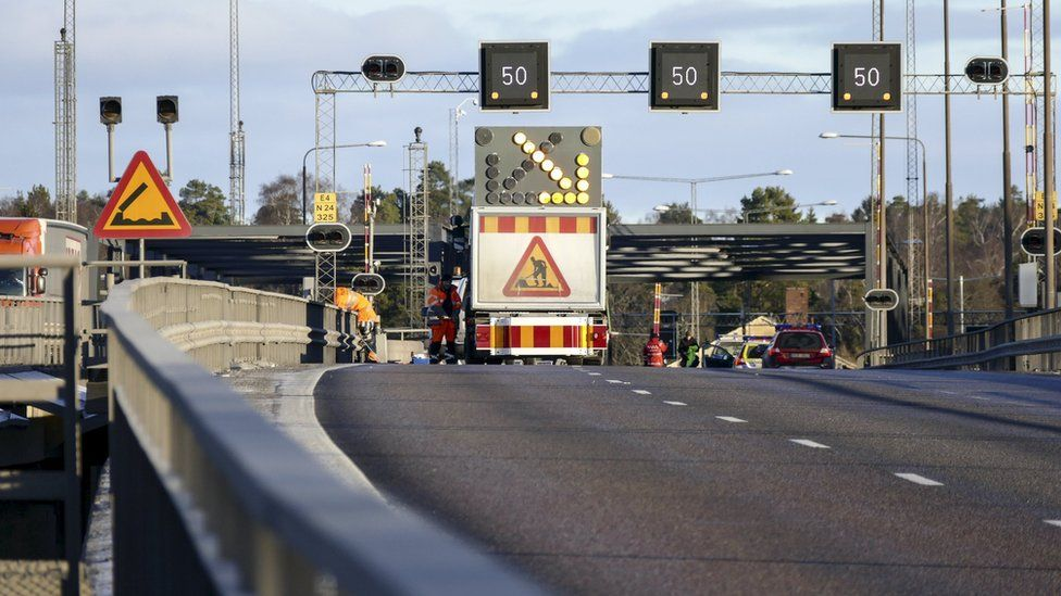 Scene of the accident in Sweden on Sunday