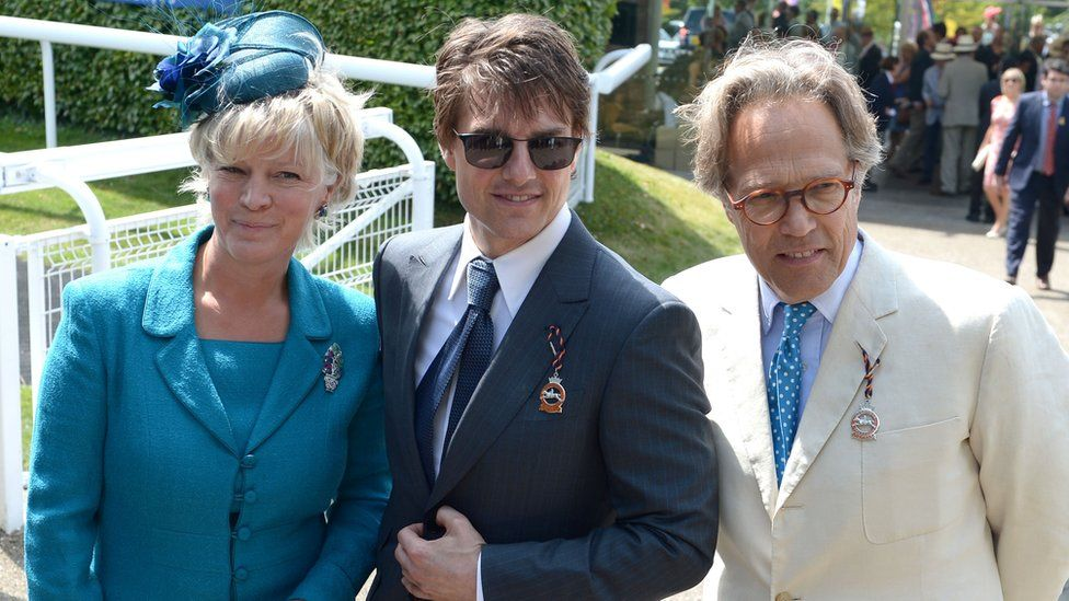Lady March (left) and Lord March (right) with actor Tom Cruise (centre) at Goodwood Racecourse