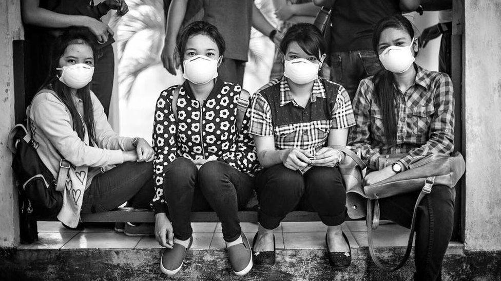 Students at The University of Palangkaraya put on N95 masks