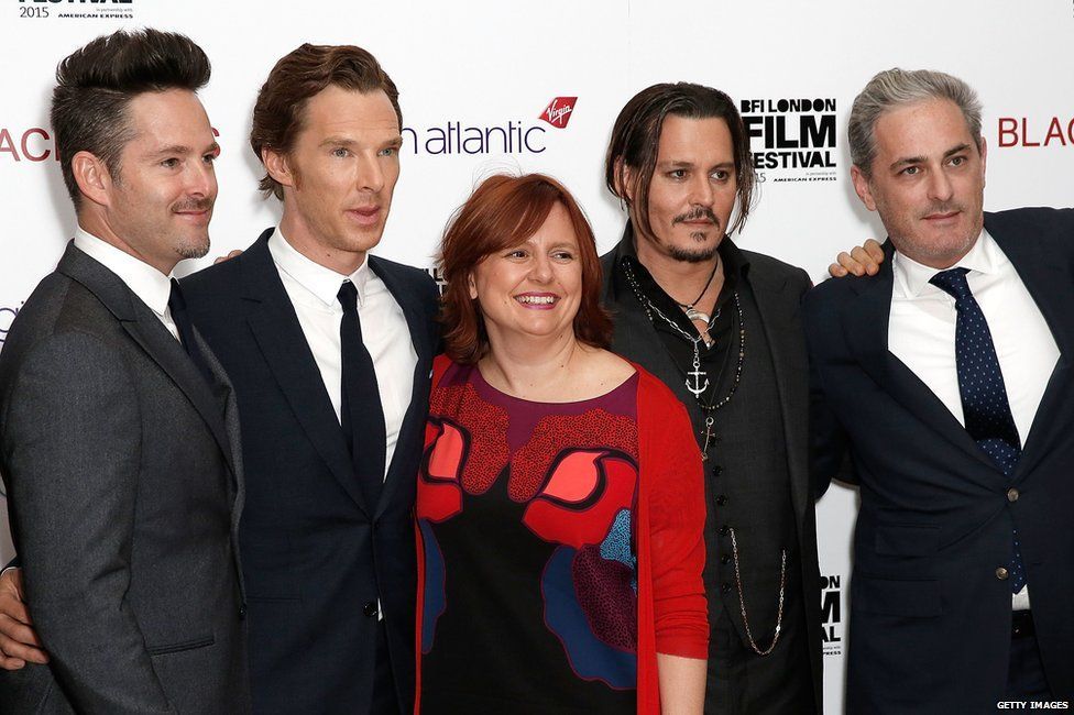 Scott Cooper, Benedict Cumberbatch, London Film Festival director Clare Stewart, Johnny Depp and producer John Lesher