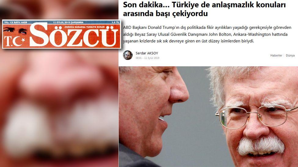 Screenshot from Turkey's Sozcu
