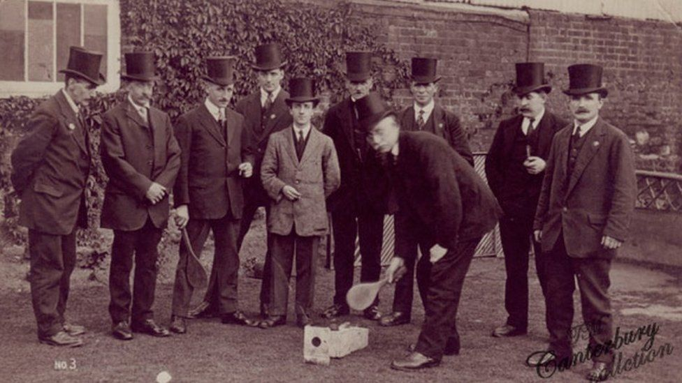 Bat and trap players at the Dolphin pub in Canterbury in the 1930s