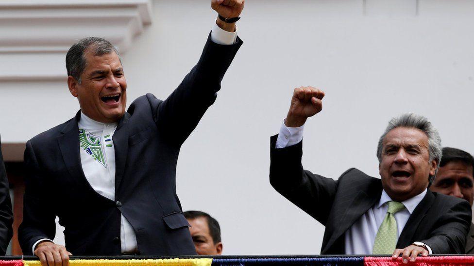 Outgoing Ecuadorean President Rafael Correa with his successor, Lenin Moreno