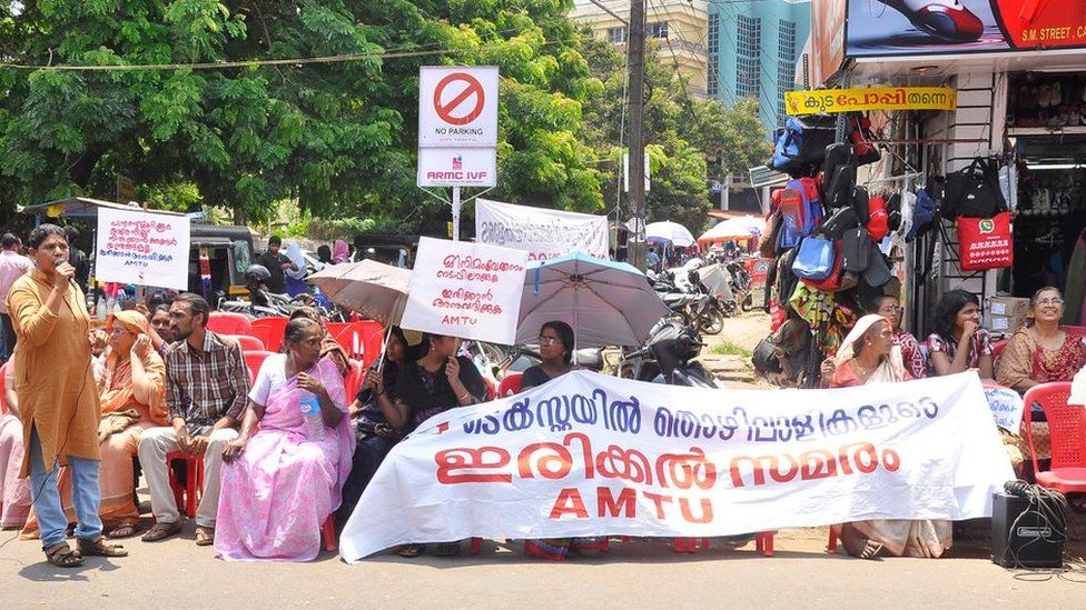 Women from a Kerala trade union in a protest to demand better working conditions