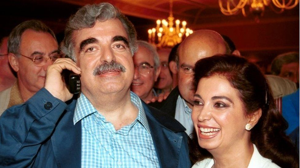 Rafik Hariri with his wife, Nazek (Sept 2000)