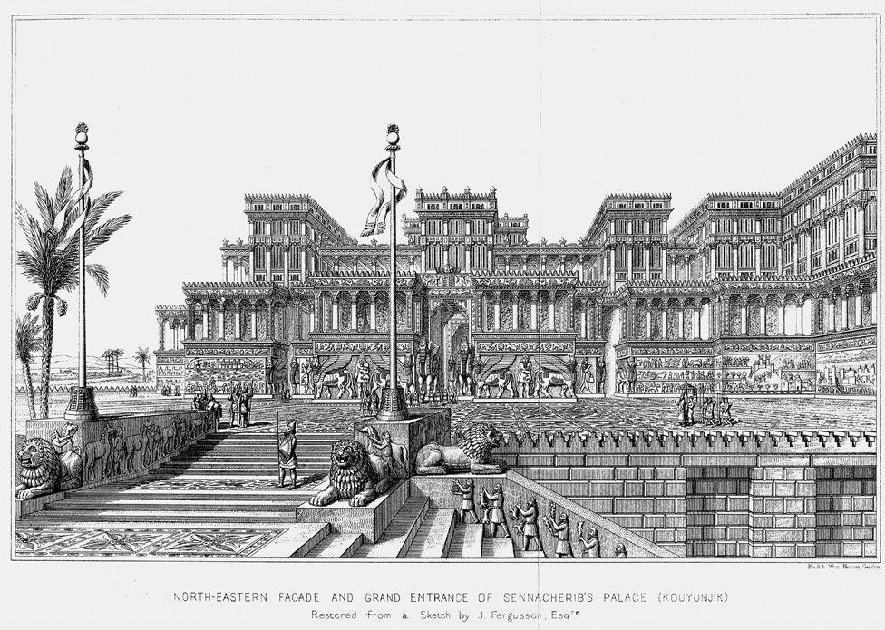 A drawing of Sennacherib's palace