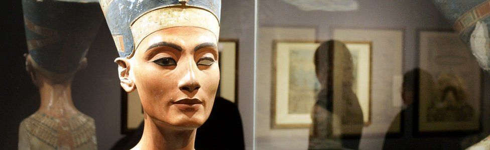 The world known bust of Egyptian Queen Nefertiti is seen at Berlin's Kulturforum, 01 March 2005