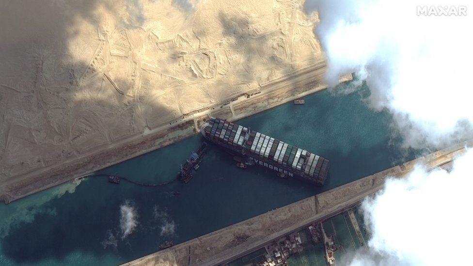Satellite image from Maxar Technologies showing the Ever Given in Egypt's Suez Canal (26 March 2021)