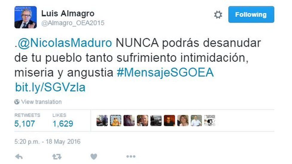 """Tweet by Luis Almagro reading: """"@NicolasMaduro will NEVER be able to undo so much suffering, intimidation, misery and anguish you've created for your people"""""""