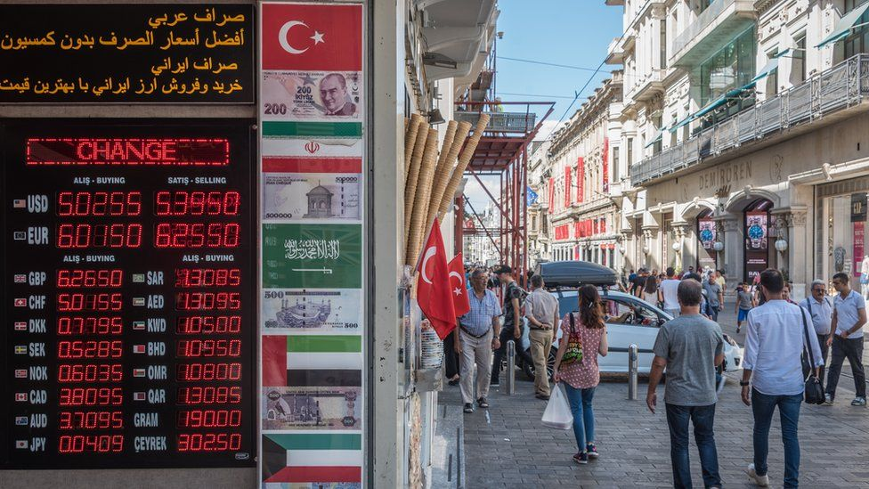 Pedestrians near a foreign exchange office in Istanbul