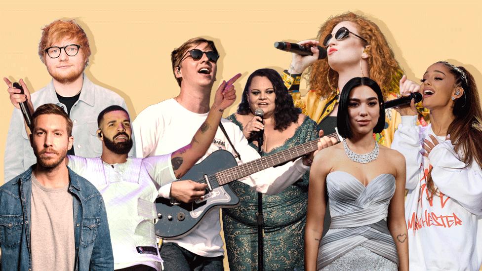 Left-right: Calvin Harris, Ed Sheeran, Drake, George Ezra, Keala Settle, Jess Glynne, Dua Lipa and Ariana Grande