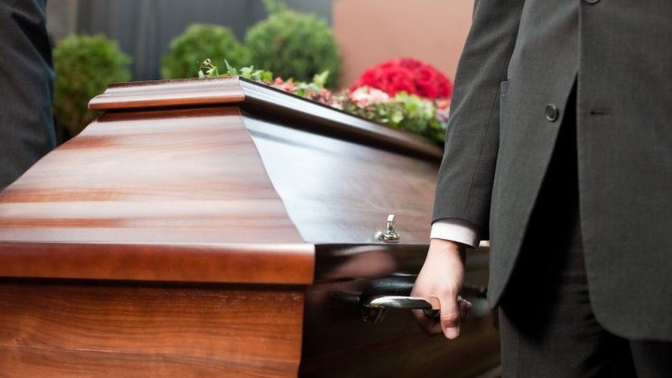 A funeral with a coffin