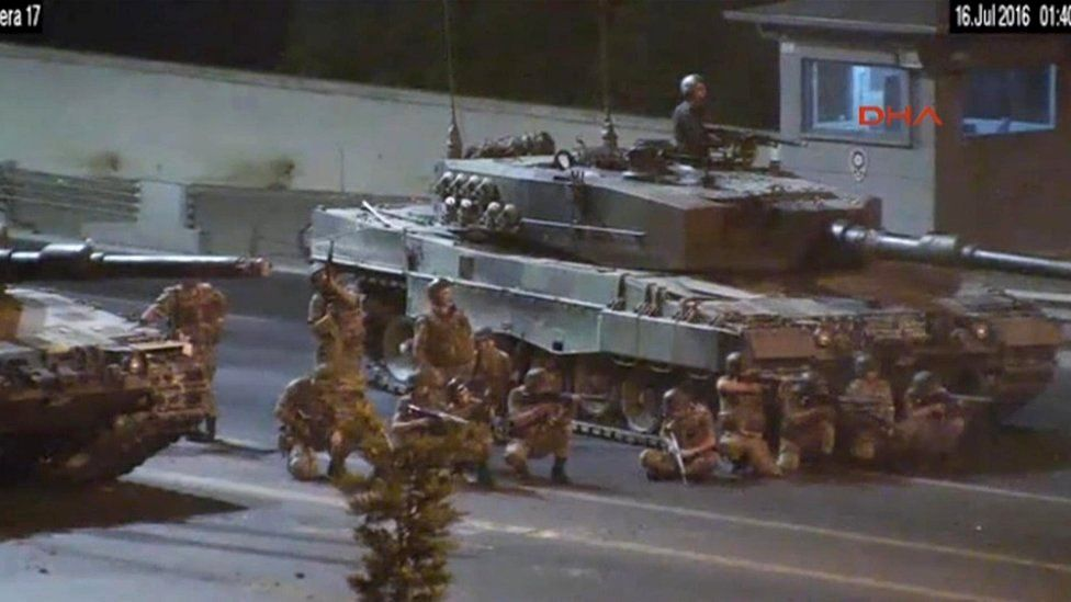Turkish troops open fire, video still from DHA via AP, 16 July 16