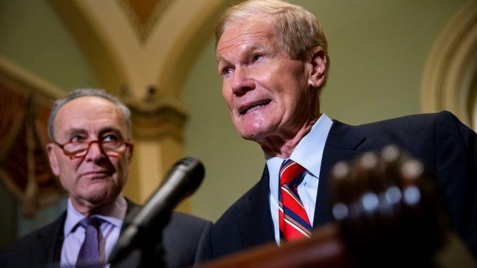 Sen. Bill Nelson (D-Fla.) speaks alongside Senate Democratic Leader Chuck Schumer