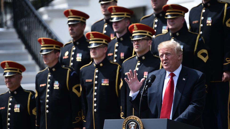 """Donald Trump speaks at a """"patriotic event"""" at the White House."""