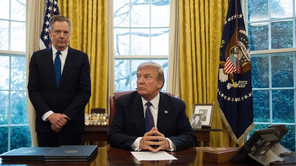 President Donald Trump with United States Trade Representative Robert Lighthizer in the Oval Office of the White House in Washington, DC, on January 23, 2018.
