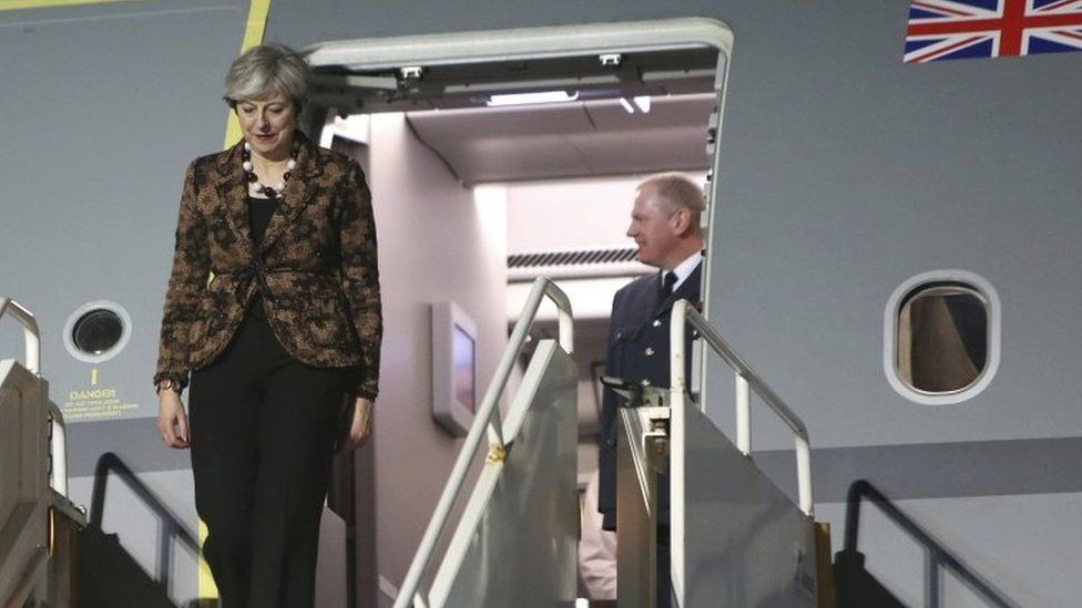 Theresa May arriving in Cyprus