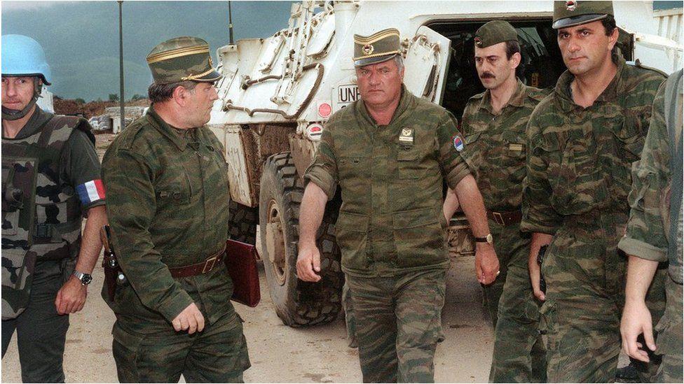 General Ratko Mladic arrives at the airport of Sarajevo