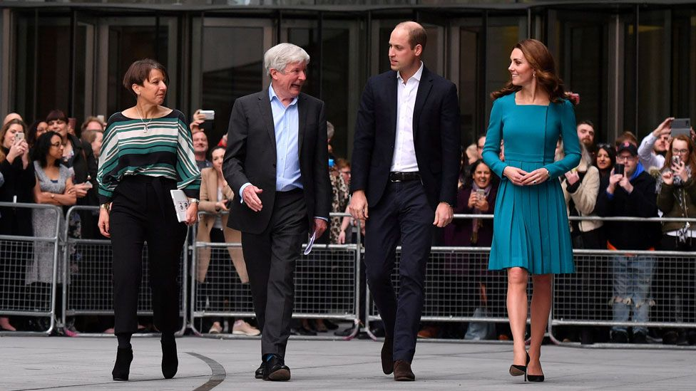 Lord Hall with Alice Webb, director of BBC Children's, and the Duke and Duchess of Cambridge in November 2018