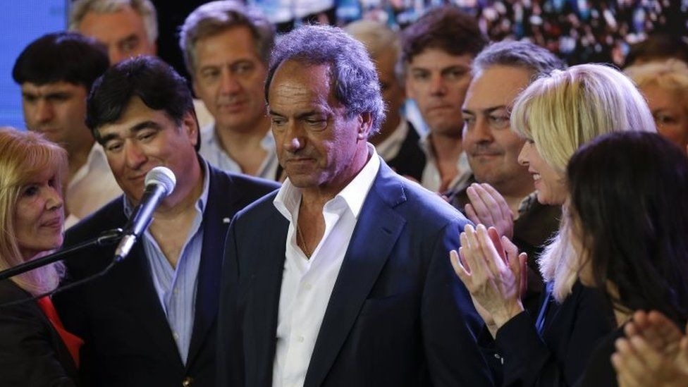 Daniel Scioli after he delivered his concession speech in Buenos Aires on 22 November, 2015