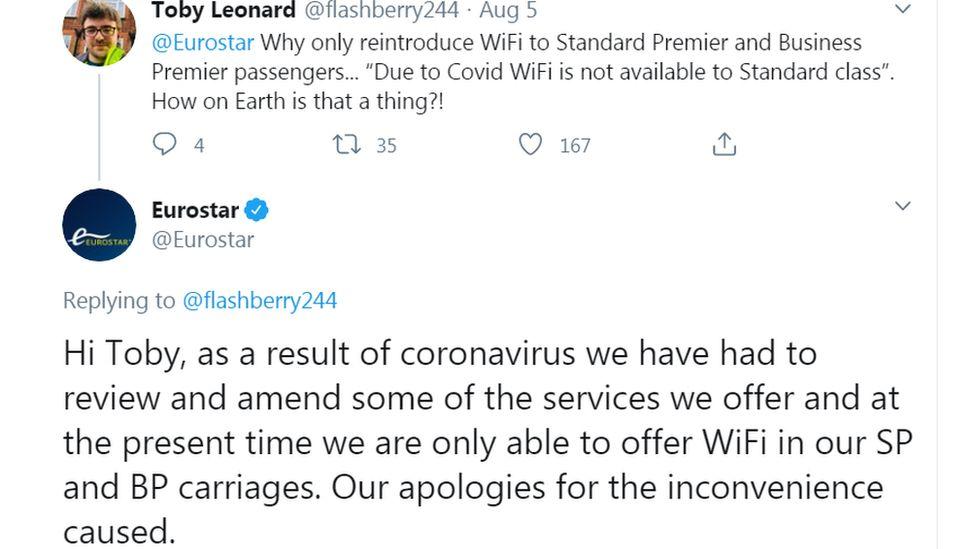 Eurostar tweet about wi-fi