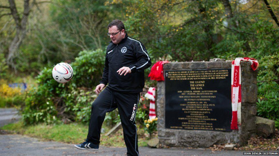 Robert Gillan at the Bill Shankly memorial near the former Glenbuck village site