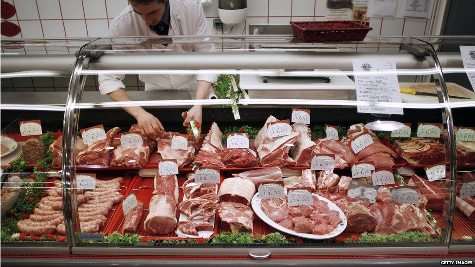 A meat counter in France.
