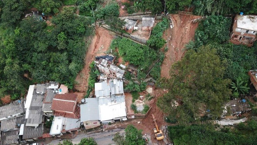 Aerial view of a landslide in Belo Horizonte, Minas Gerais state, Brazil. Photo: 25 January 2020