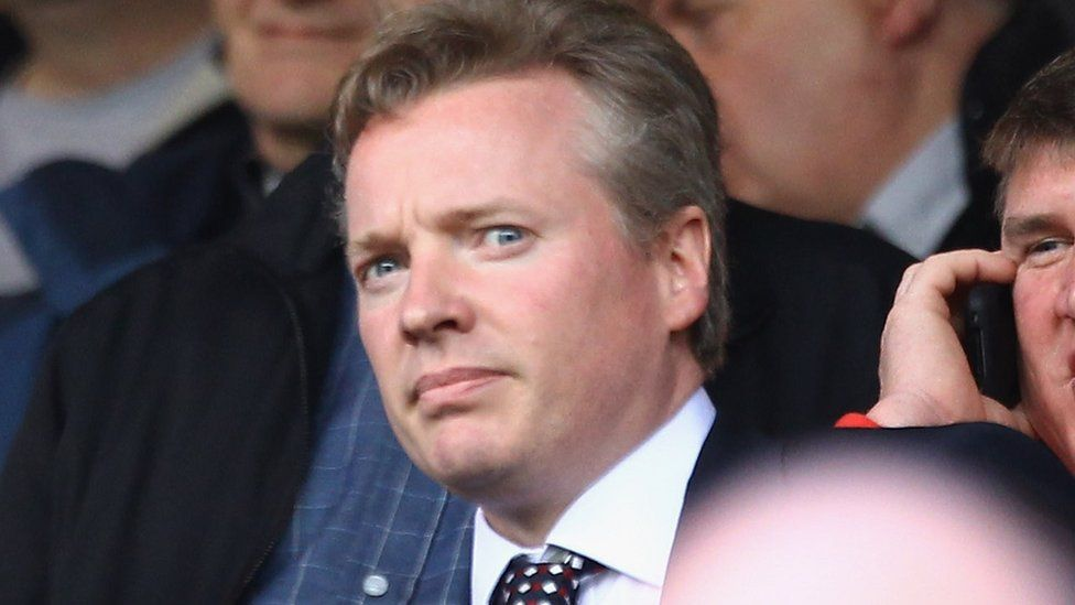 Craig Whyte new owner of Rangers arrives in the stand during the Clydesdale Bank Premier League match between Rangers and Hearts at Ibrox Stadium on May 7, 2011